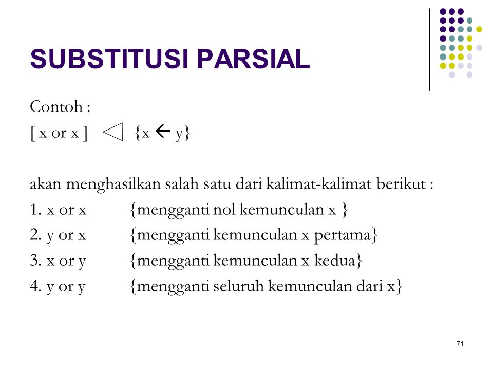 SUBSTITUSI PARSIAL Contoh : [ x or x ] {x  y}